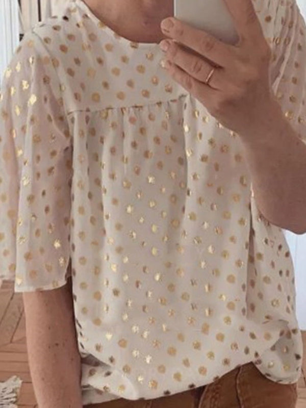 Round Neck Polka Dots Print Mid-Length Three-Quarter Sleeve Blouse