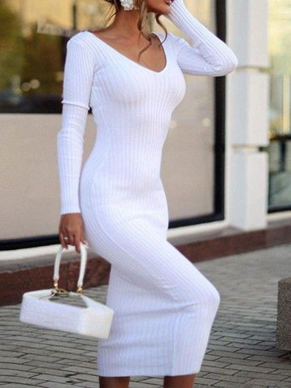 Mid-Calf Long Sleeve V-Neck Plain Regular Dress