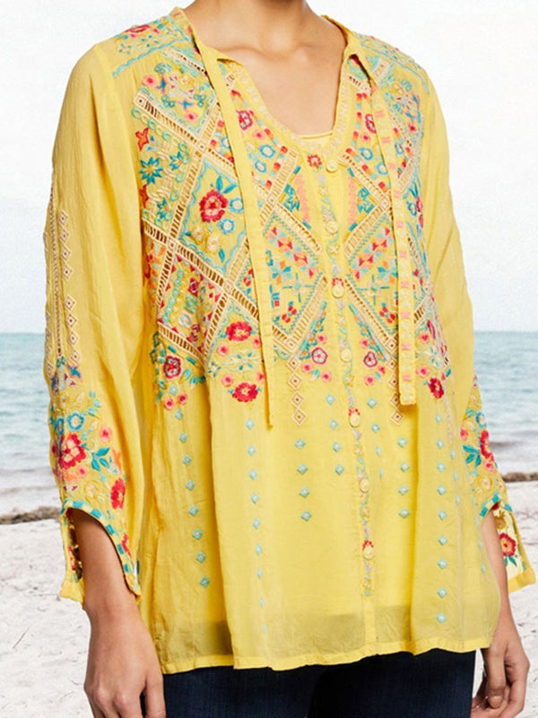 Geometric V-Neck Embroidery Mid-Length Nine Points Sleeve Blouse