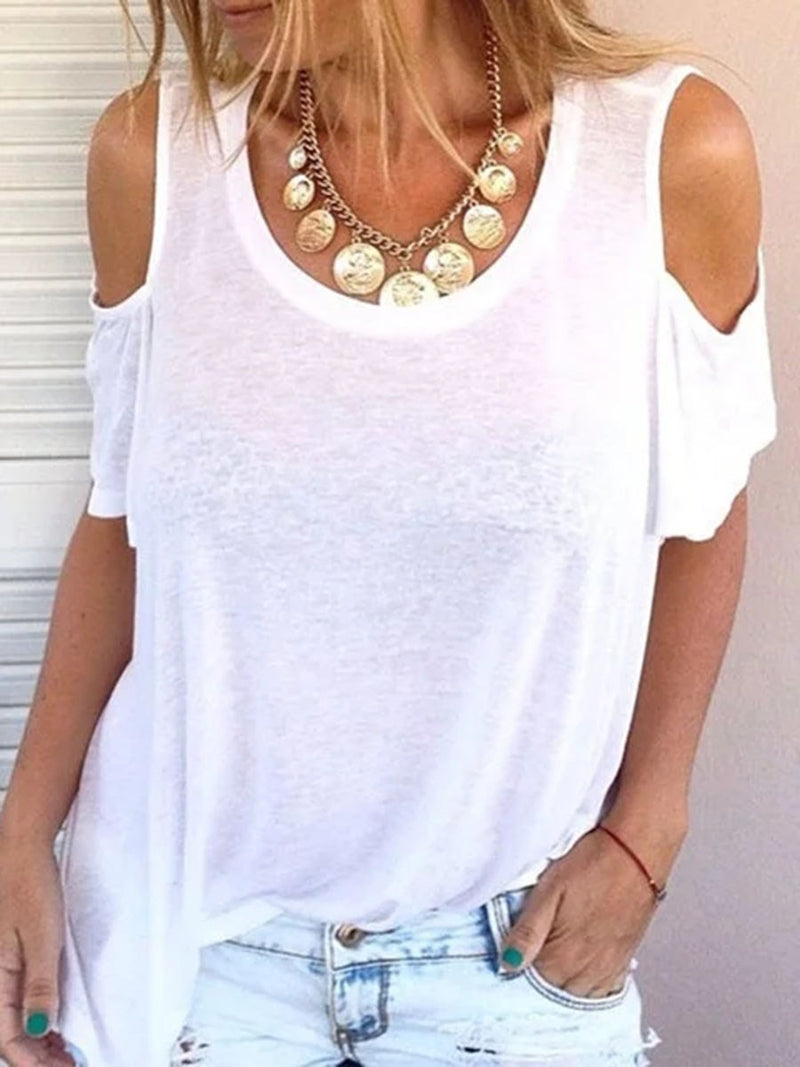 Short Sleeve Mid-Length Plain Casual Loose T-Shirt