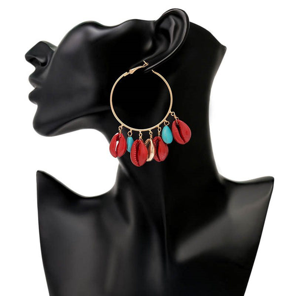 Bronze Ethnic Color Block Wedding Earrings