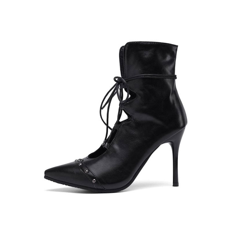 Lace-Up Front Stiletto Heel Pointed Toe PU Lace-Up Boots