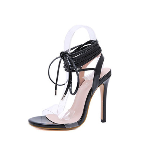 Lace-Up Stiletto Heel Open Toe Ankle Strap Plain Western Sandals