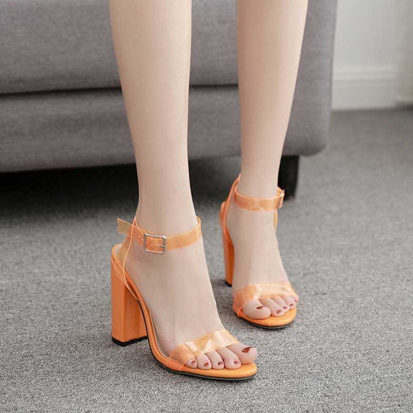 Buckle Ankle Strap Chunky Heel Open Toe Plain Buckle Sandals