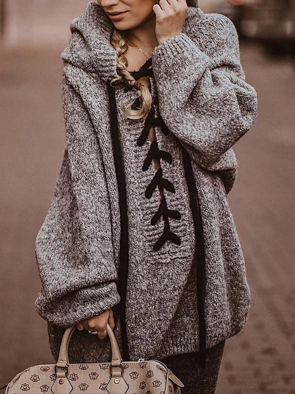 Thick Regular Lace-Up Mid-Length Loose Sweater