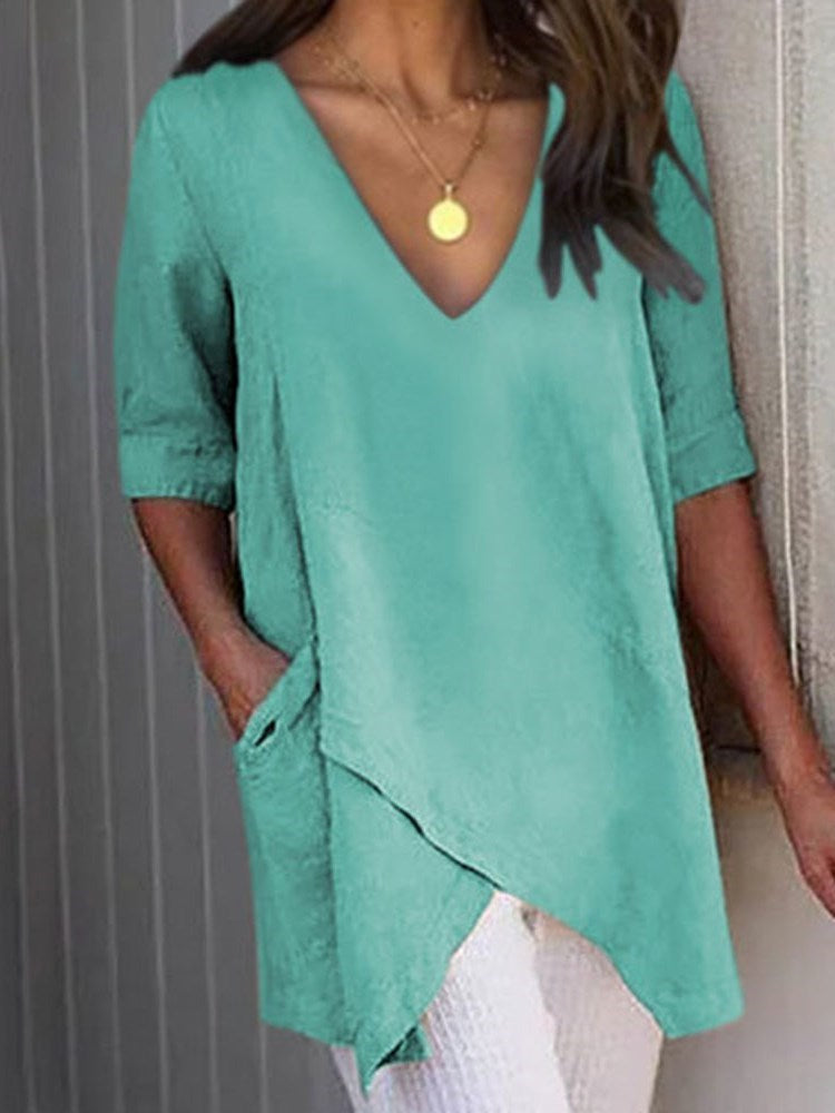 Asymmetric Plain V-Neck Mid-Length Half Sleeve Blouse