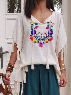 Floral V-Neck Tassel Mid-Length Half Sleeve Blouse