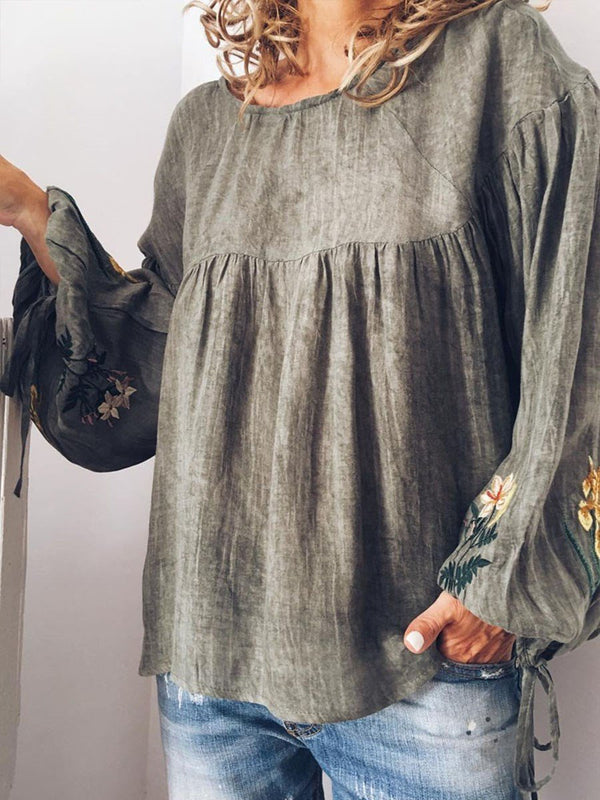 Round Neck Floral Print Standard Long Sleeve Blouse