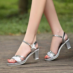 Buckle Ankle Strap Open Toe Chunky Heel Low-Cut Upper Casual Sandals