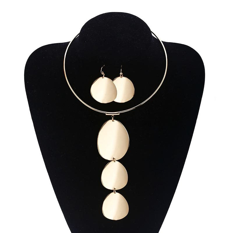 Plain Necklace E-Plating Anniversary Jewelry Sets
