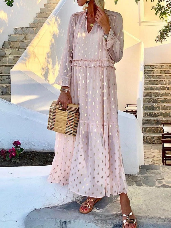 Nine Points Sleeve V-Neck Ankle-Length Polka Dots Pullover Dress