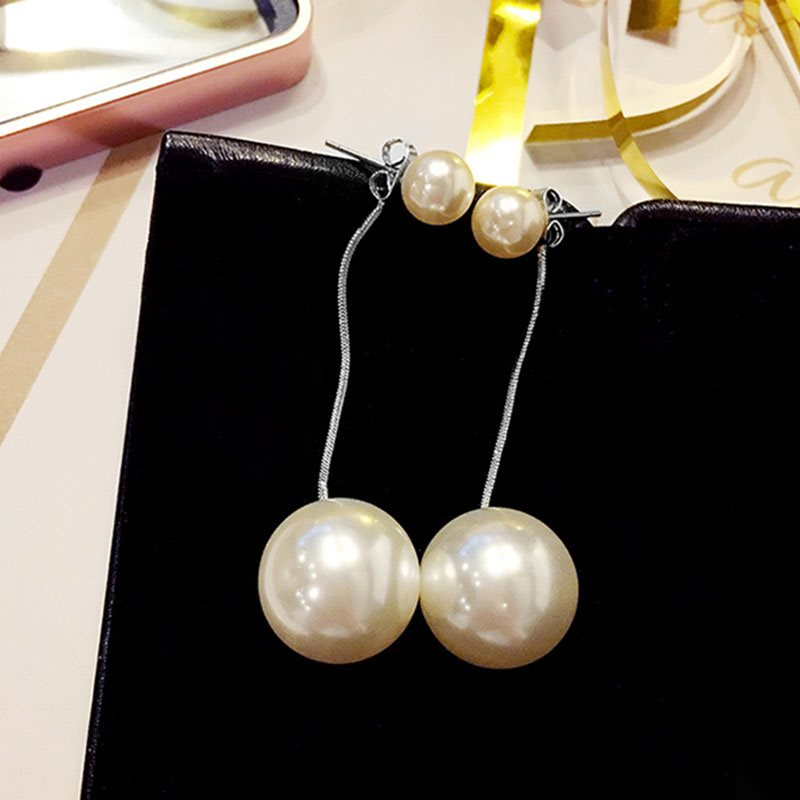 Pearl Inlaid Korean Alloy Holiday Earrings