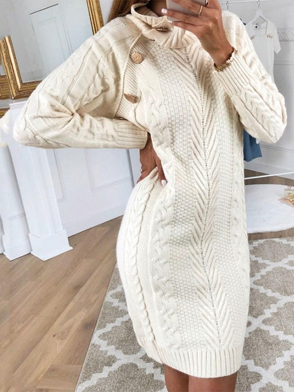 Long Sleeve Button Above Knee Casual Straight Dress