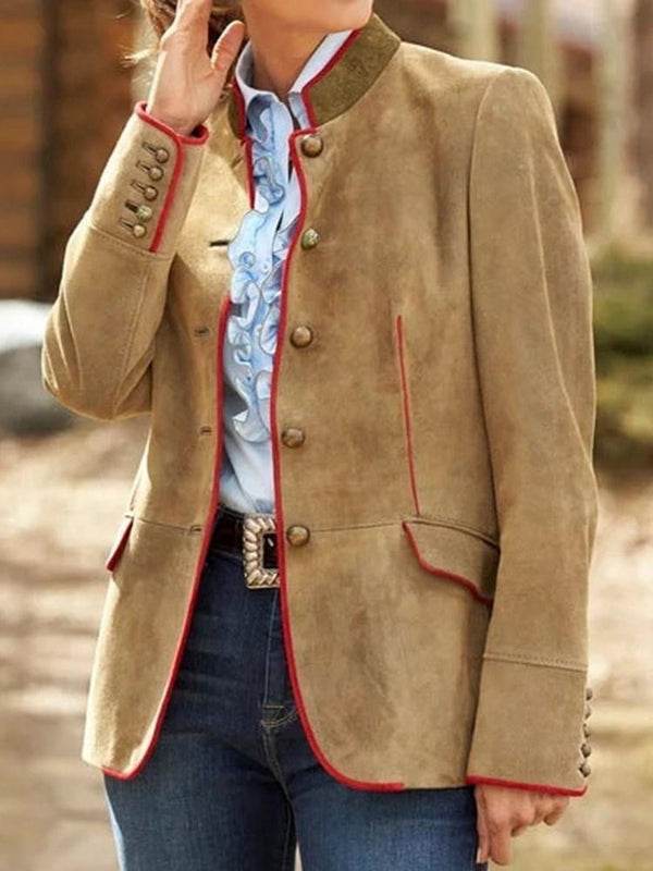 Single-Breasted Stand Collar Long Sleeve Regular Mid-Length Casual Blazer