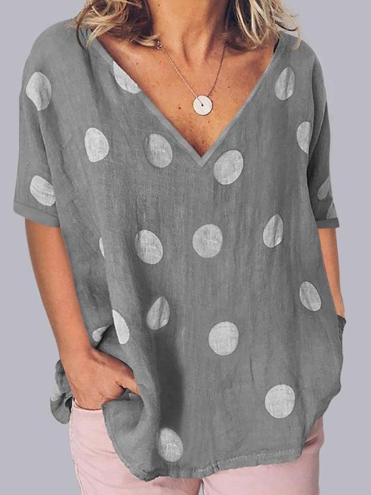 Mid-Length V-Neck Geometric Loose Casual T-Shirt