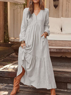 Long Sleeve Ankle-Length V-Neck A-Line Pullover Dress