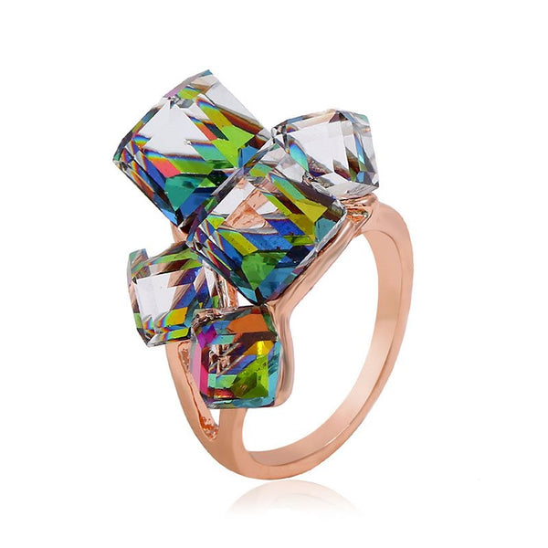 Alloy Crystal Inlaid Sweet Anniversary Rings