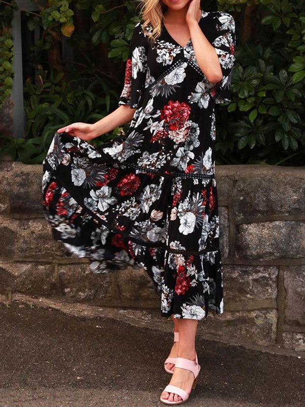 Mid-Calf Half Sleeve Print Pullover Casual Dress