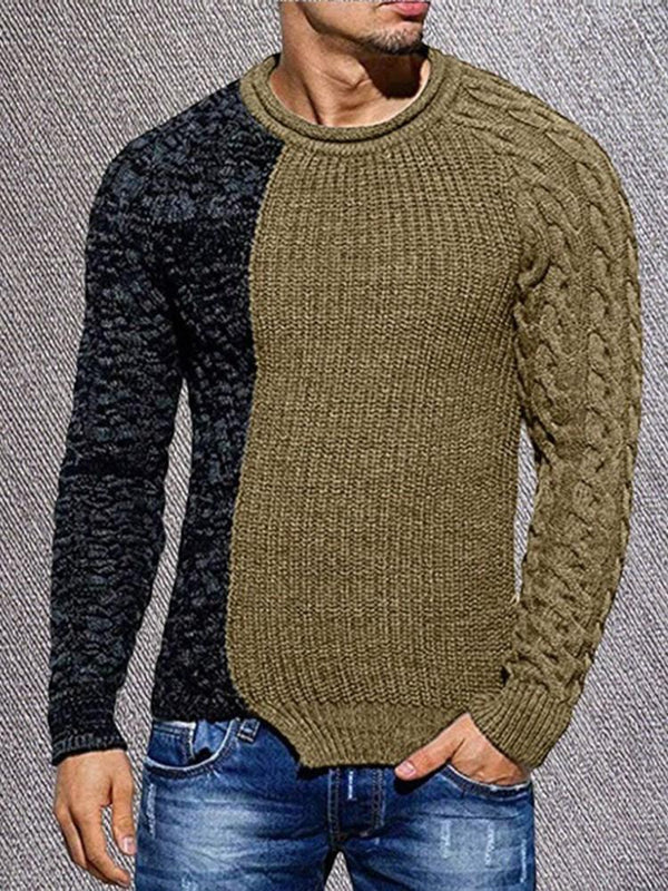 Round Neck Standard Patchwork Slim Casual Sweater