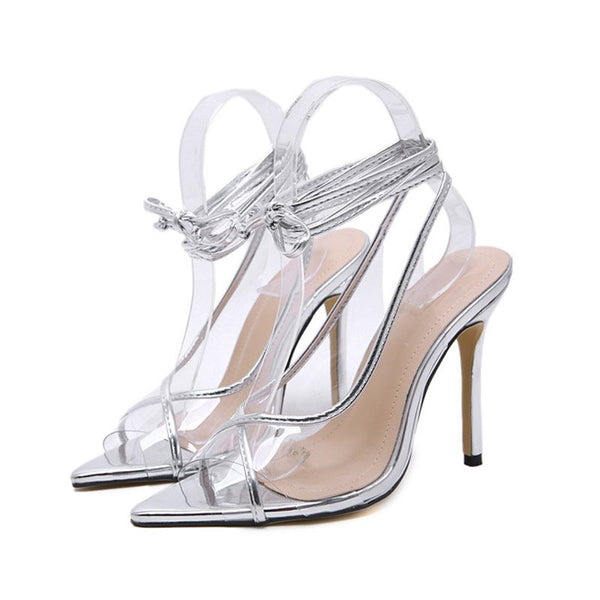 Lace-Up Peep Toe Strappy Stiletto Heel Plain Casual Sandals
