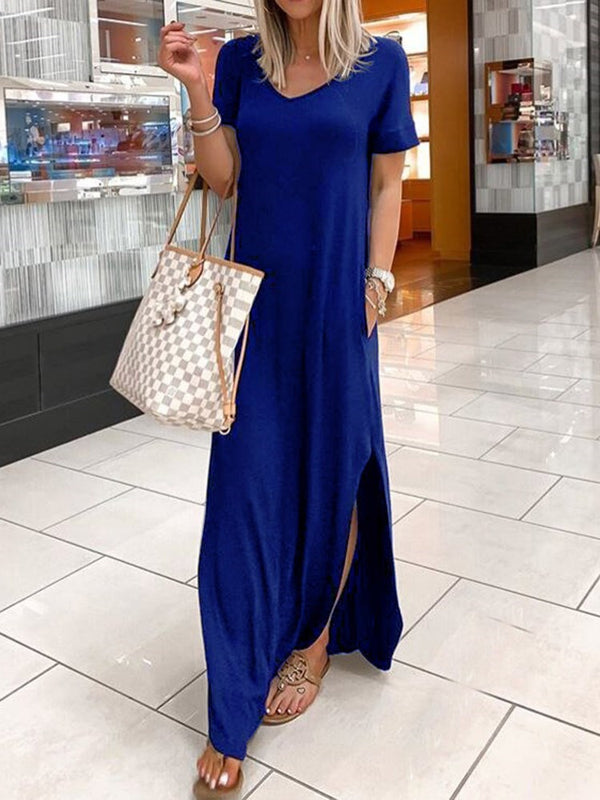 Short Sleeve Floor-Length Split Plain Pullover Dress