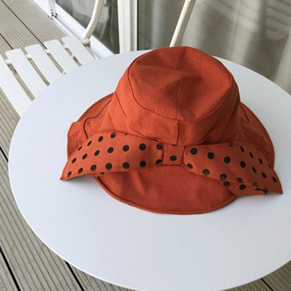 Bowknot Korean Cotton Polka Dots Hats