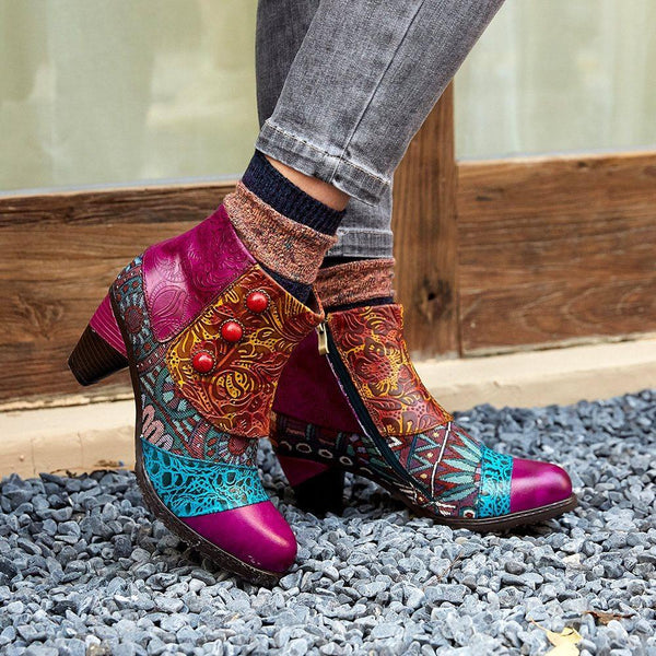 Chunky Heel Round Toe Side Zipper Floral Engraved Flower Casual Boots