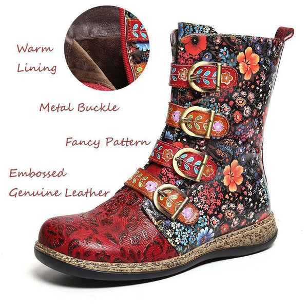 Side Zipper Round Toe Casual Boots