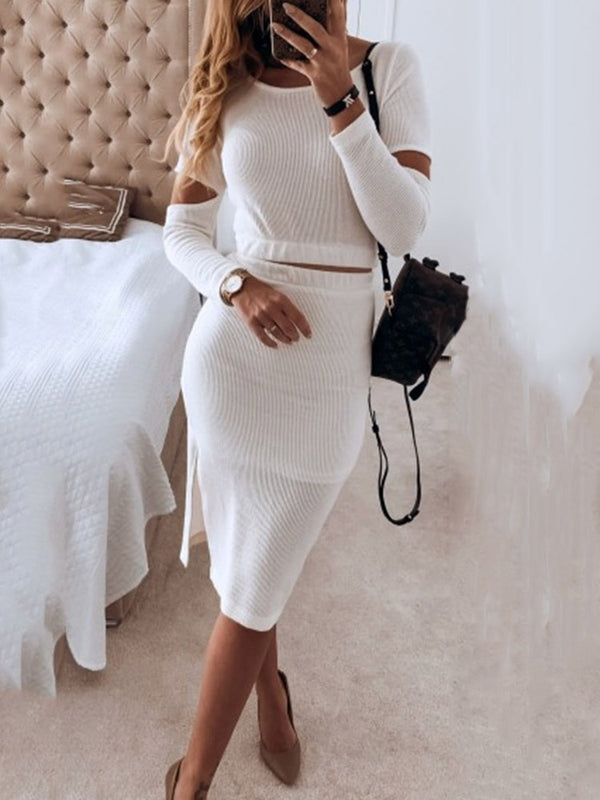Hollow Mid-Calf Round Neck Plain Bodycon Dress