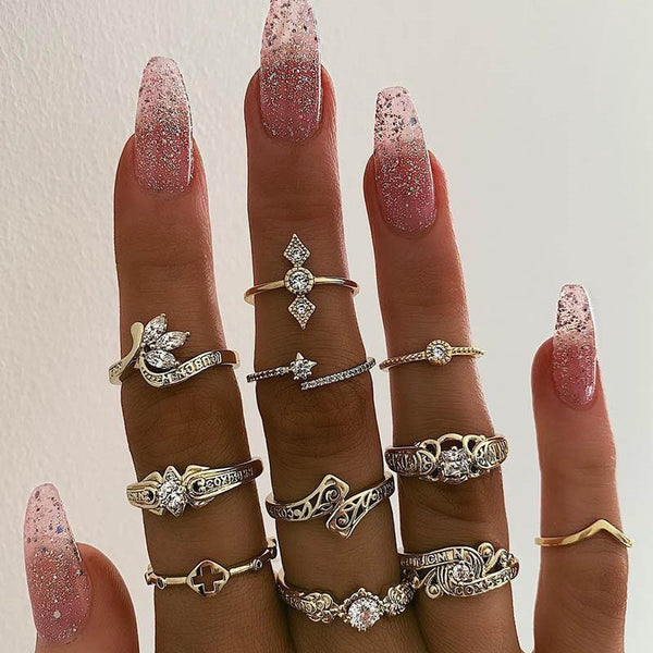 Vintage Alloy Diamante Prom Rings