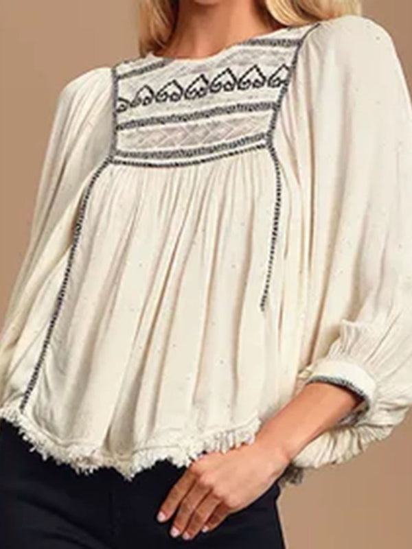 Round Neck Embroidery Three-Quarter Sleeve Mid-Length Blouse