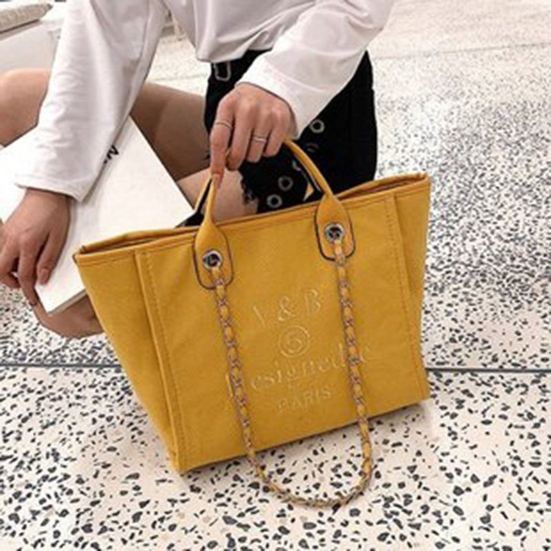 Chain Canvas Letter Tote Bags