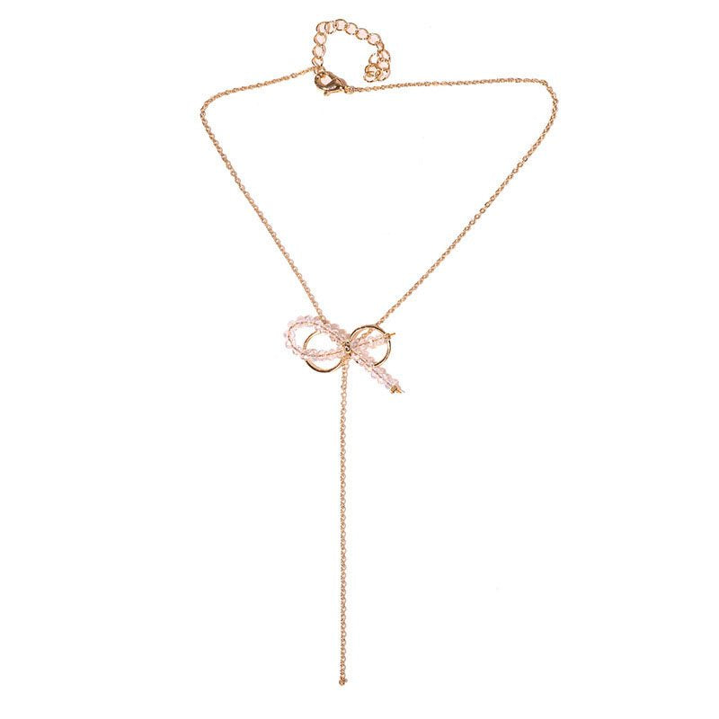 E-Plating Pendant Necklace Bowknot Female Necklaces