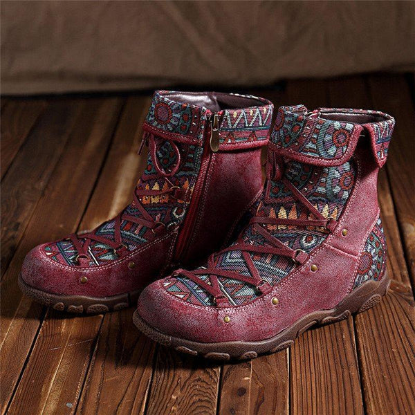 Side Zipper Round Toe Patchwork Zipper Casual Boots