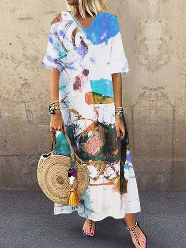 Ankle-Length Print Half Sleeve Pullover Color Block Dress