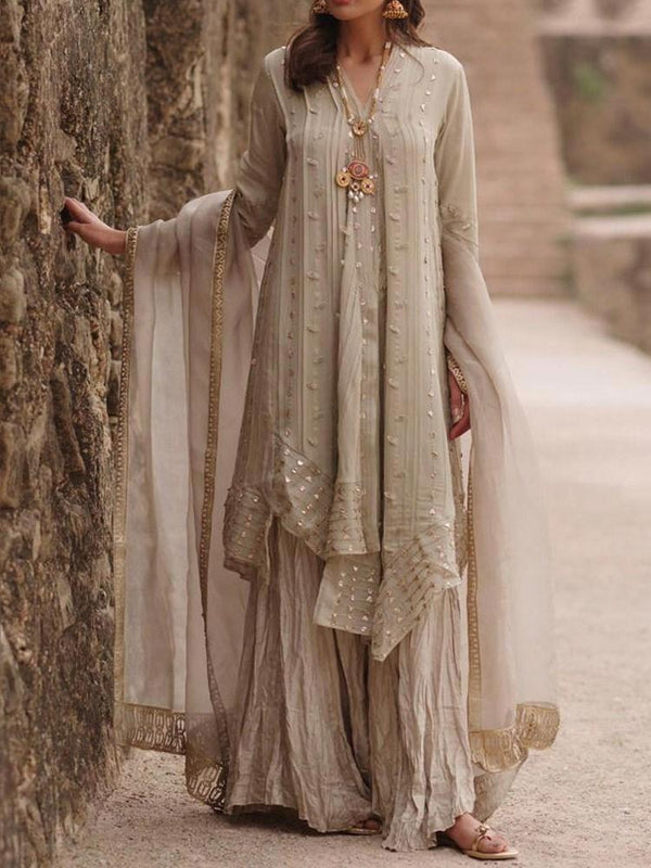 Floor-Length V-Neck Long Sleeve Regular A-Line Dress