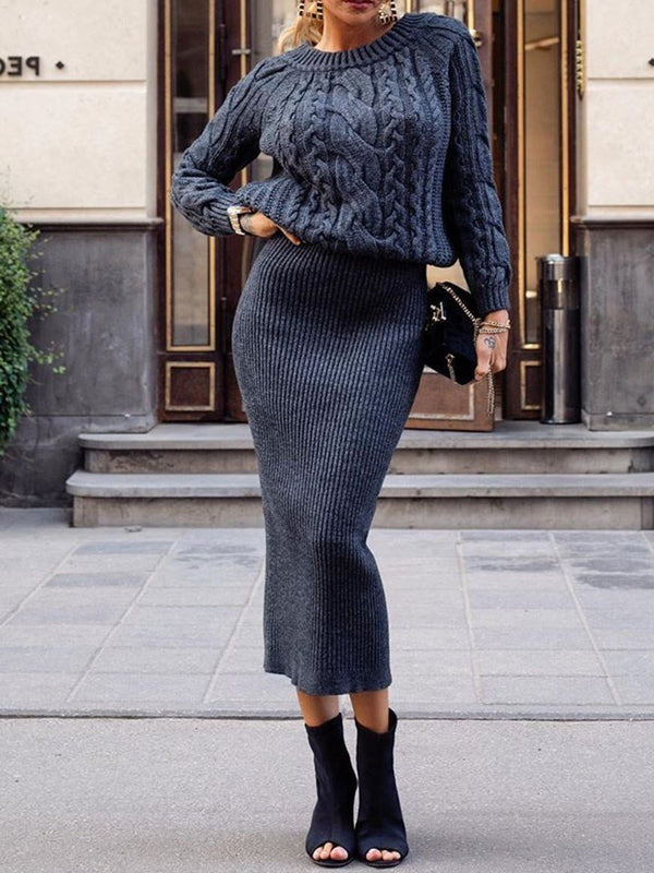 Round Neck Mid-Calf Long Sleeve Plain Pullover Dress