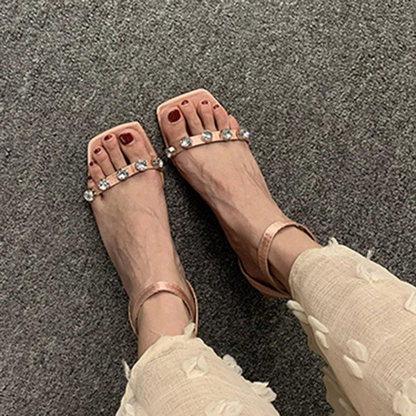 Line-Style Buckle Chunky Heel Ankle Strap Open Toe Plain Casual Sandals
