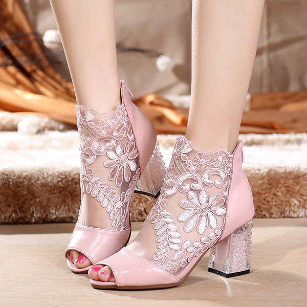 Floral Chunky Heel Peep Toe Back Zip Mesh Lace Boots