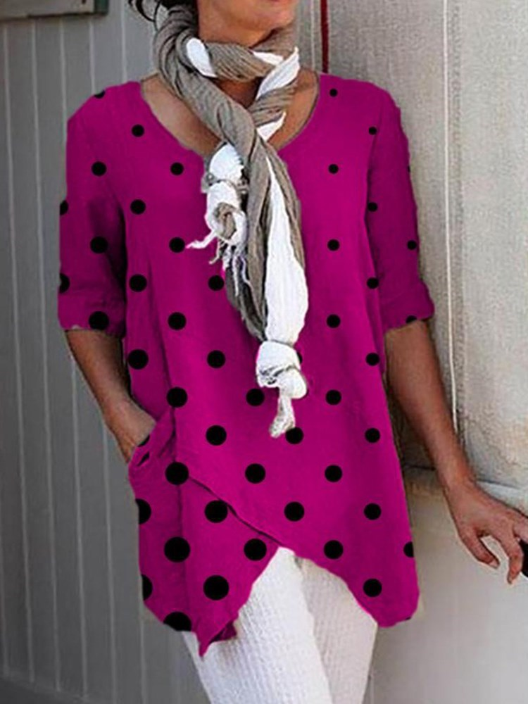 Polka Dots Mid-Length Half Sleeve Slim Casual T-Shirt