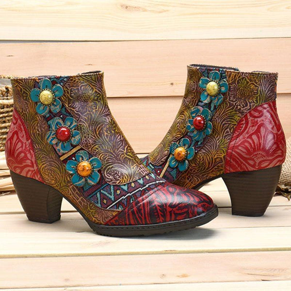 Patchwork Side Zipper Round Toe Western Appliques Boots