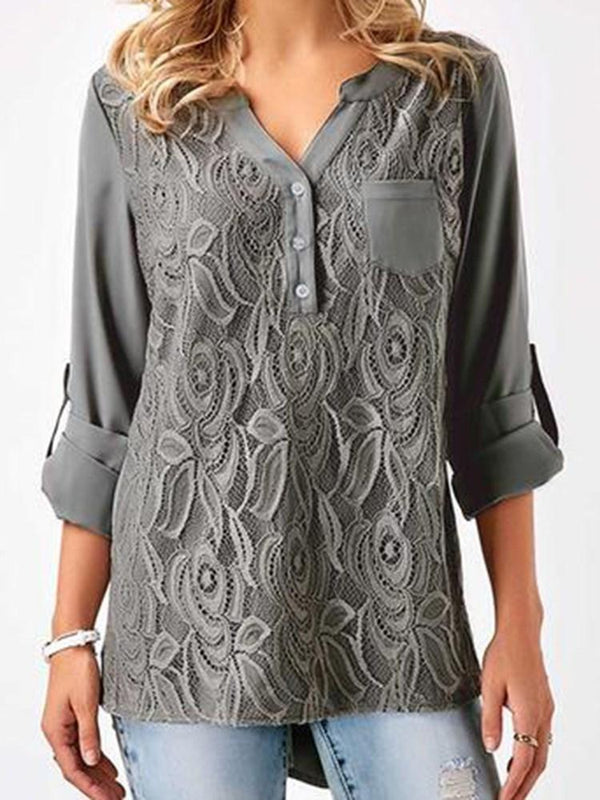 Asymmetric Mid-Length Three-Quarter Sleeve Blouse