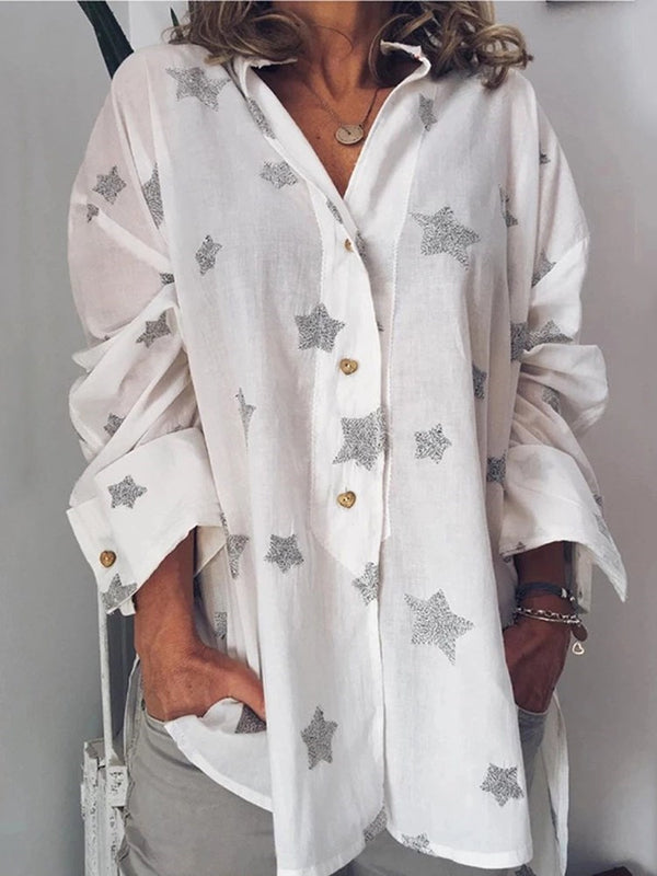 Star Print Long Sleeve Mid-Length Blouse