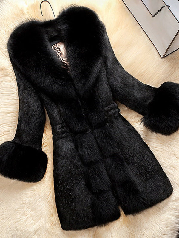 Mid-Length Fall Straight Faux Fur Overcoat