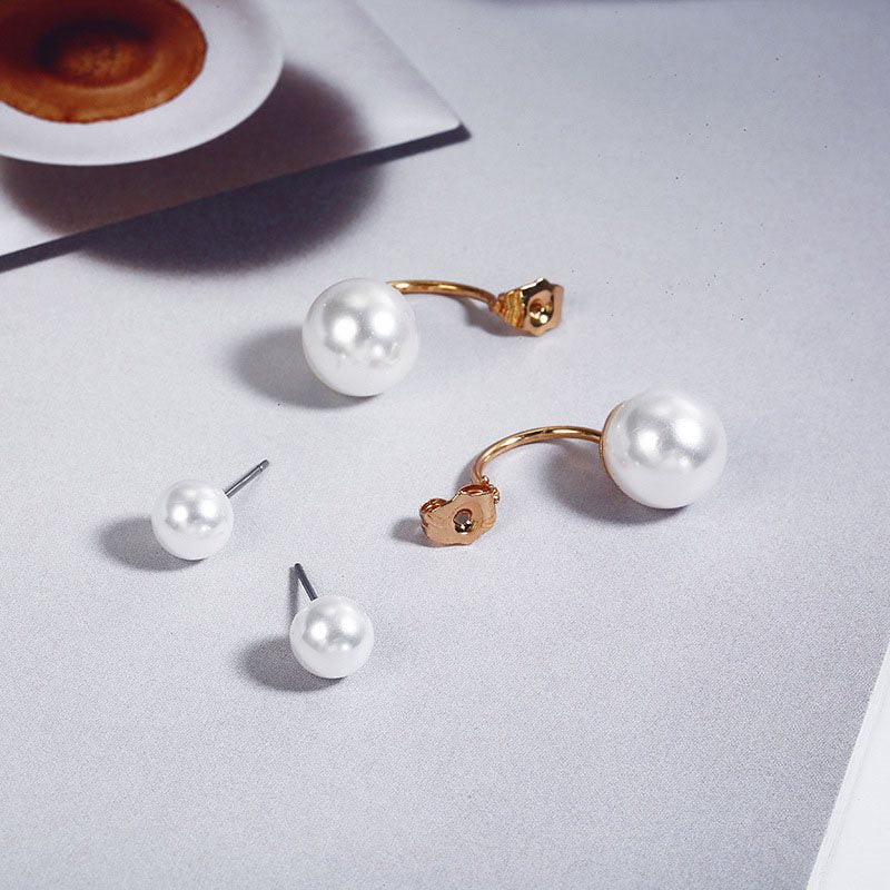 Korean Alloy Pearl Inlaid Holiday Earrings