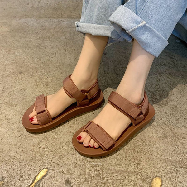 Ankle Strap Open Toe Velcro Flat With Low-Cut Upper Plain Sandals