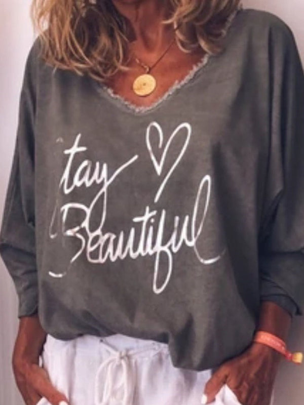 V-Neck Mid-Length Long Sleeve Loose T-Shirt