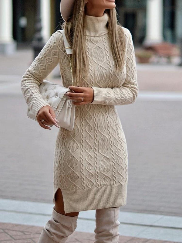 Above Knee Turtleneck Long Sleeve Pullover Plain Dress