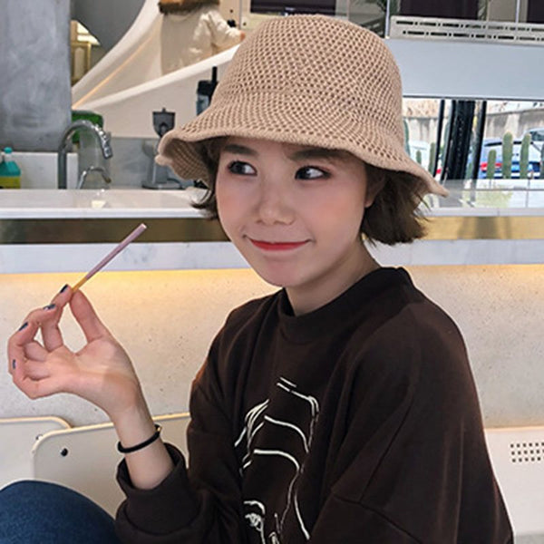 Woolen Yarn Bucket Hat Korean Summer Hats