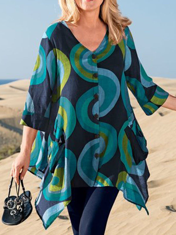 V-Neck Color Block Print Mid-Length Three-Quarter Sleeve Blouse